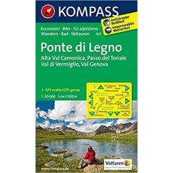 107. Ponte di Legno turista térkép Kompass 1:50 000