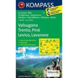 75. Valsugana, Trento, Lévico turista térkép Kompass 1:50 000