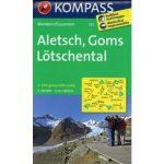122. Aletsch, Goms, Lötschental, 1:40 000 turista térkép Kompass