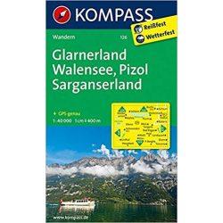 126. Glarnerland, Walensee, 1:40 000 turista térkép Kompass
