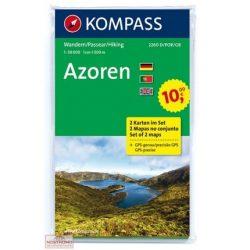 2260. Azori szigetek turista térkép, Azoren, 2teiliges Set turista térkép Kompass  2017 Azori térkép