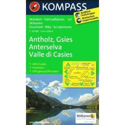 057. Antholz, Anterselva-Gsies Valle di casies turista térkép Kompass 1:35 000