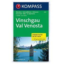 670. Vinschgau turista térkép, 3teiliges Set, D/I turista térkép Kompass