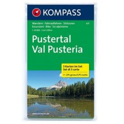 671. Pustertal, 3teiliges Set, D/I turista térkép Kompass