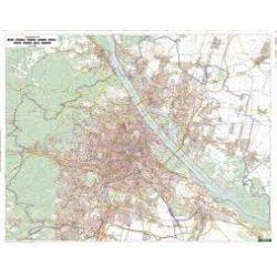 Bécs teljes fémléces, műanyaghengerben, 1:25 000, (121 x 95 cm) Freytag térkép PL 2 B