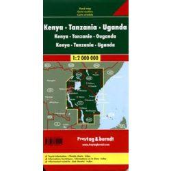 Kenya, Tanzánia, Uganda térkép 1:2 000 000  Freytag térkép AK 21