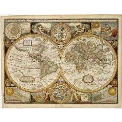 Antik világtérkép, fémléces, műanyaghengerben, (90,5 x 70 cm) Freytag térkép AWK 2