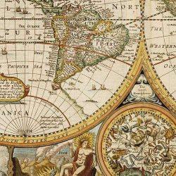 Antik világtérkép, műanyaghengerben, (91 x 76 cm) Freytag térkép AWK 3