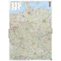 Németország falitérkép fémléces, úthálózatos műanyaghengerben, 1:700 000, (98 x 129 cm)  Freytag AK 0200 B