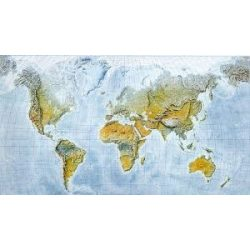 Világ falitérkép domborzati, műanyaghengerben, 1:35 000 000,  (120 x 84 cm)  Freytag térkép WNAT 3