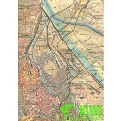 Bécs térkép antik 1898/99 facsimile, 1:25 000 hajtott Freytag térkép ALTW 1
