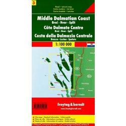 Dalmát-tengerpart 3 Brač-Hvar-Split, 1:100 000  Freytag térkép AK 0705
