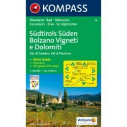 74. Südtirols Süden Bolzano Vigneti e Dolomiti turista térkép Kompass 1:50 000