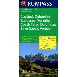 259. Südtirol, Dolomiten, Gardasee, 1:250 000 térkép autós
