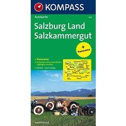 334. Salzburg Land, Salzkammergut, Panorama mit Straßenkarte, 1:125 000 panoráma térkép