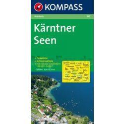 337. Kärntner Seen, Panorama mit Straßenkarte, 1:125 000 panoráma térkép