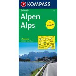 350. Alpen, Panorama mit Straßenkarte, 1:500 000 panoráma térkép