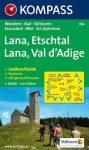 054. Lana Etschtal Val d Adige turista térkép Kompass 1:25 000