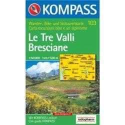 103. Le Tre Valli Bresciane turista térkép Kompass 1:50 000
