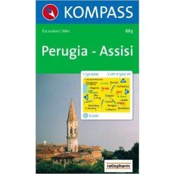 663. Perugia, Assisi turista térkép Kompass 1:50 000