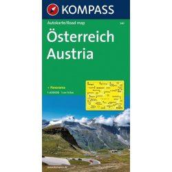 340. Österreich, Panorama mit Straßenkarte, 1:600 000 panoráma térkép