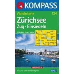 124. Zürichsee turista térkép Kompass