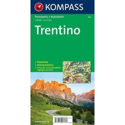 354. Trentino, Panorama mit Straßenkarte, 1:150 000 panoráma térkép