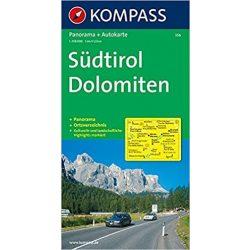 356. Südtirol, Panorama mit Straßenkarte, 1:150 000 panoráma térkép