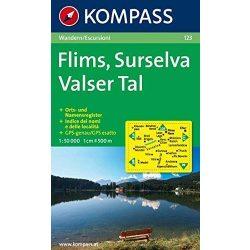 123. Flims, Surselva, Valser Tal turista térkép Kompass