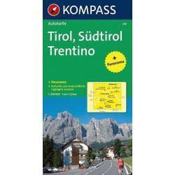 358. Tirol, Südtirol, Trentino, Panorama mit Straßenkarte, 1:250 000 panoráma térkép