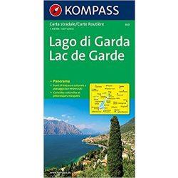 360. Gardasee, Panorama mit Straßenkarte, 1:125 000 panoráma térkép