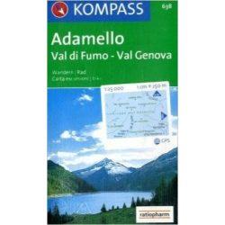 638. Adamelo-Val di Fumo-Val Genova turista térkép Kompass 1:25 000