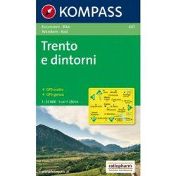 647. Trento e dintorni, 1:25 000, D/I turista térkép Kompass