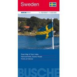 Svédország térkép Busche Map  1 : 750 000