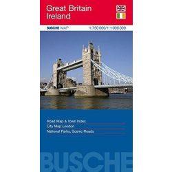 Nagy-Britannia térkép Busche Map  1 : 750 000  Írország térkép