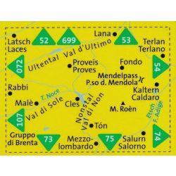 95. Val di Non térkép Nonstal, Passo Mendola/Mendelpass, D/I turista térkép Kompass