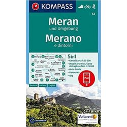 53. Meran und Umgebung/Merano e dintorni, D/I turista térkép Kompass