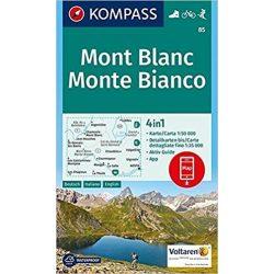 85. Monte Bianco, Mont Blanc turista térkép Kompass 1:50 000