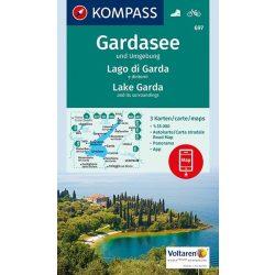 697. Gardasee térkép, Garda-tó turista térkép 1:35 000, D/I turista térkép Kompass