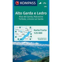 690. Gardasee, Garda tó térkép Kompass 1:25 000  Garda-tó térkép észak-nyugat