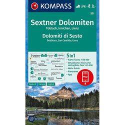 58. Sextner Dolomiten turista térkép Kompass 1:50 000 5 db-os térképszett