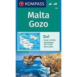 235. Málta-Gozo térkép Kompass 1:25 000 Málta turistatérkép, Málta térkép 2019