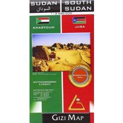 Sudan térkép, Dél-Szudán térkép Gizimap 1:2 500 000