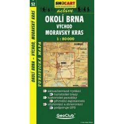 SC 52. Okoli Brna, vychod, Moravsky kras turista térkép Shocart 1:50 000 Morvai-Karszt turistatérkép, Brno és környéke kelet