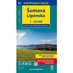 61. Sumava turista térkép Kartografie Praha 1:50 000 Sumava térkép, Lipensko