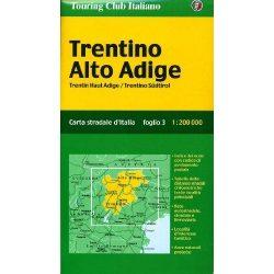 Trentino térkép Alto Adige TCI 1:200 000