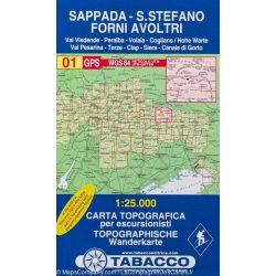 01. Sappada - S. Stefano - Forni Avoltri - Val Visdende turista térkép Tabacco 1: 25 000