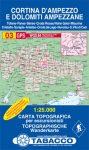 03. Cortina d Ampezzo turista térkép Tabacco 1: 25 000