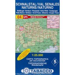 04. Val Senales - Altissima, Schnalstal - Hohe Wilde turista térkép Tabacco 1: 25 000
