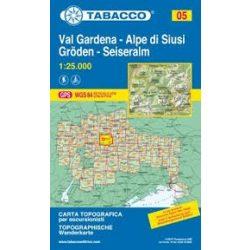 05. Val Gardena - Alpe di Siusi, Gröden turista térkép Tabacco 1: 25 000